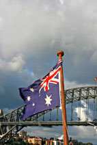 Australian flag and Harbour Bridge - Sydney, Australia