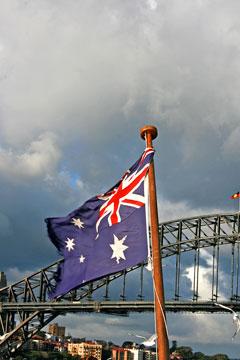 Australian flag and Harbour Bridge - Sydney, Australia